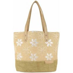 Cabas Sac cabas épaule toile délavée fleur beige - Patrick Blanc - Modalova