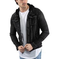 Veste Veste jean à capuche Veste 216 noir - Monsieurmode - Modalova
