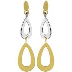 Boucles oreilles Boucles d'oreilles pendantes gouttes or bicolore - Brillaxis - Modalova