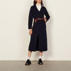 Long dress with tunic collar - Sandro - Modalova