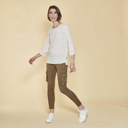 Promo : Pantalon cargo sur chevilles poches latérales et coutures genoux - Kaki - 3 SUISSES - Modalova