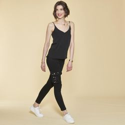 Promo : Pantalon cargo sur chevilles poches latérales et coutures genoux - Noir - 3 SUISSES - Modalova