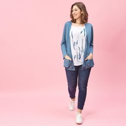 Tee-shirt effet 2 en 1 intérieur imprimé manches longues grandes tailles - Bleu Pétrole - 3 SUISSES - Modalova