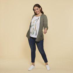 Promo : Tee-shirt effet 2 en 1 intérieur imprimé manches longues grandes tailles - Kaki - 3 SUISSES - Modalova