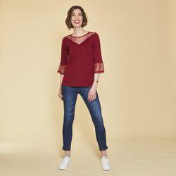 Tee-shirt empiècements et manches 3/4 volantées avec tulle brodé - Rouge Grenat - 3 SUISSES - Modalova