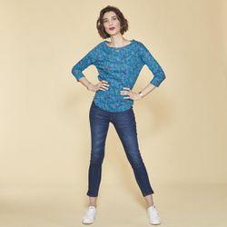 Tee-shirt imprimé floral manches 3/4 à revers - Bleu Pétrole - 3 SUISSES - Modalova