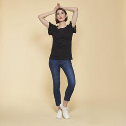 Tee-shirt manches courtes avec passementerie - Noir - 3 SUISSES - Modalova