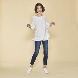 Promo : Tee-shirt manches longues élastiquées guipure et volants - écru - 3 SUISSES - Modalova
