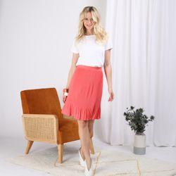 Promo : Jupe plissée unie longueur genoux - 3S. x Le Vestiaire - Modalova