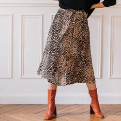 Promo : Jupe mi-longue boutonnée devant léopard Beige - 3S. x Le Vestiaire - Modalova