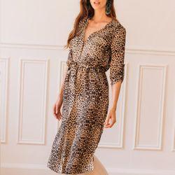 Promo : Robe chemise léopard Dany - 3S. x Le Vestiaire - Modalova