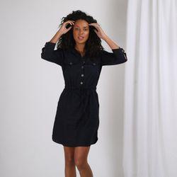 Promo : Robe chemise en lin resserrée taille - 3S. x Le Vestiaire - Modalova
