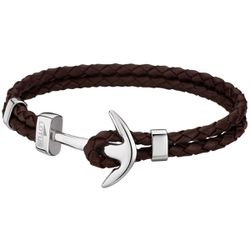 Bracelet Lotus Style - Bracelet Urban Man Double Tressés Marron Ancre Acier - LS1832-2-5 - Modalova