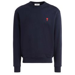 Sweatshirt col rond bleu marine avec logo - AMI PARIS - Modalova