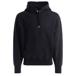 Sweatshirt à capuche noir avec logo ton sur ton - AMI PARIS - Modalova