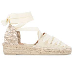 Sandale avec semelle compensèe Gina en toile de coton ivoire - Castañer - Modalova