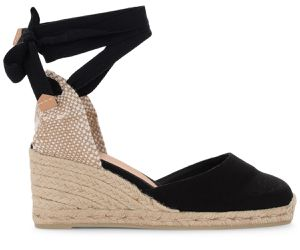 Sandale à talon compensé Carina en toile et tissu noir - Castañer - Modalova