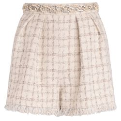 Shorts in tessuto tweed avorio disegno check - ELISABETTA FRANCHI - Modalova