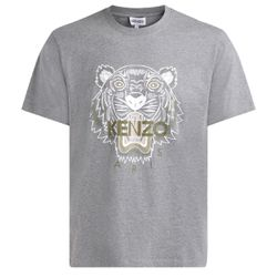 T-shirt Tigre gris avec imprimé blanc - Kenzo - Modalova