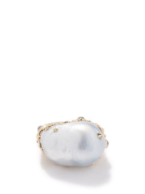 Bague en or 18 carats à perle Starry Night - Bibi van der Velden - Modalova