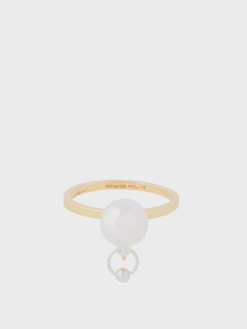 Bague piercing en or 18 carats, diamant et perle - Delfina Delettrez - Modalova