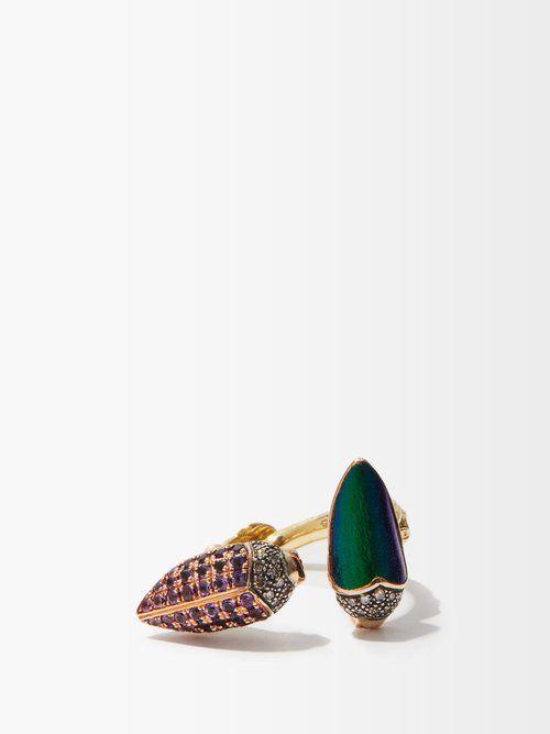 Bague en or, argent et diamants Floaty Scarab - Bibi van der Velden - Modalova
