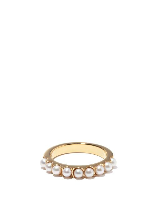 Bague en argent plaqué or 14 carats et perles - Otiumberg - Modalova